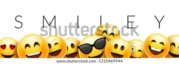 Smiley Funny Background Emoticon Face Vector Stock Vector (Royalty