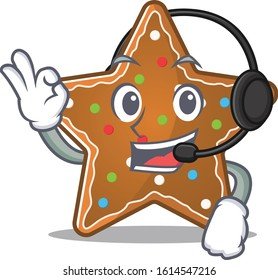 Smiley gingerbread star cartoon character design wearing headphone