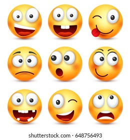 Smiley with glasses,smiling angry,sad,happy emoticon. Yellow face with emotions. Facial expression. 3d realistic emoji. Funny cartoon character.Mood. Web icon. Vector illustration.