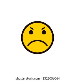 smiley icon. Angry smiley face. Angry Emoticon. Yellow vector symbol.