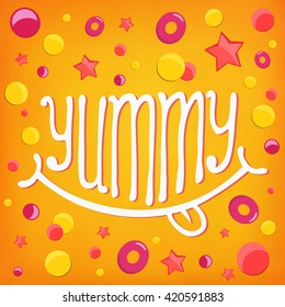 Smiley icon. Yummy log lettering concept. Vector illustration