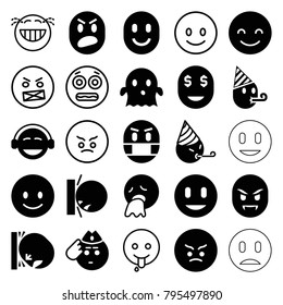 Smiley icons. set of 25 editable filled and outline smiley icons such as smiling emot, angry emot, emoji, ghost, shocked emoji