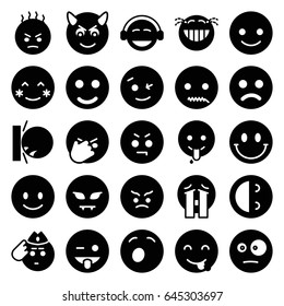 Smiley icons set. set of 25 smiley filled icons such as smiling emot, blush, wink emot, emoji showing tongue, emoji, crying emoji