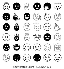 Smiley icons. set of 36 editable filled and outline smiley icons such as smiling emot, blush, wink emot, emoji in mask, emoji angel, heart face