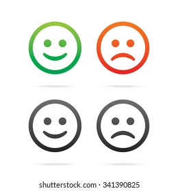 Smiley icons. Set of vector smile emoticons.