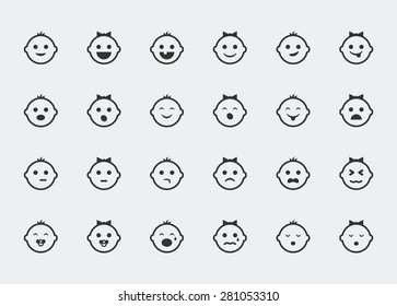 Smiley icons, vector set of varied baby faces expressions