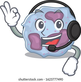 Smiley leukocyte cell cartoon character design wearing headphone