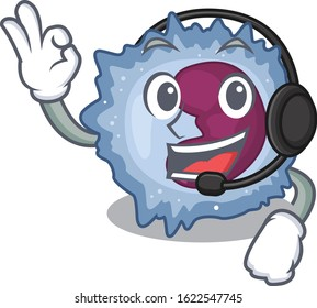 Smiley monocyte cell cartoon character design wearing headphone
