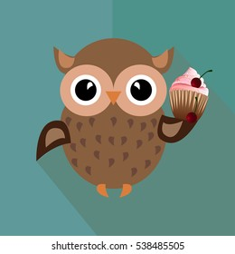 smiley owl hold tasty cupcake with cherry