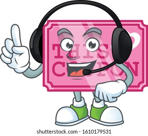 Smiley pink love coupon cartoon character design wearing headphone