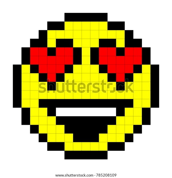 Smiley Pixel Art Style On White Stock Vector Royalty Free