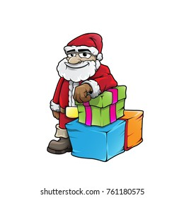Smiley Santa Claus with presents hand drawn color vector character