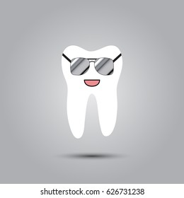 Smiley in the shape of a tooth on a gray background