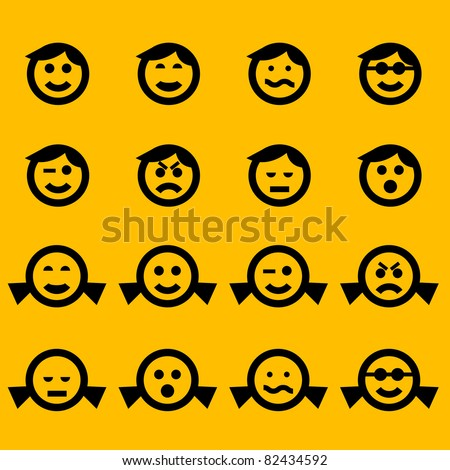 Smiley Symbols Female Male Characters Stock Vector Royalty Free