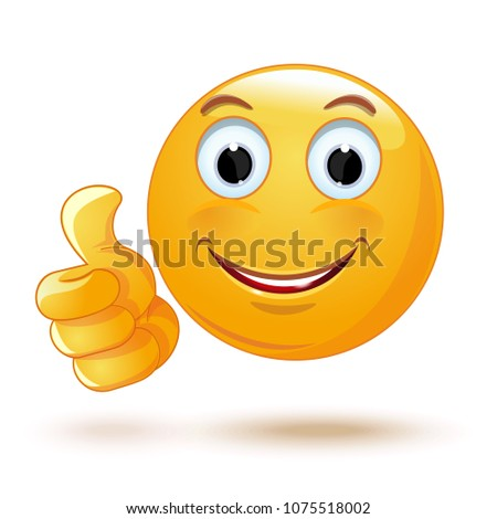 Smiley Thumb Up Laik Cool Emoticon Stock Vector Royalty Free