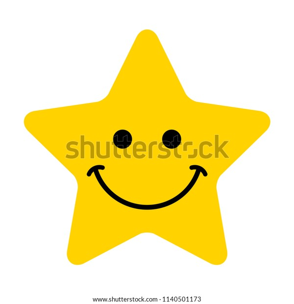 Smiley. Vector happy face. Yellow star