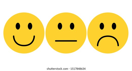 smiley yellow face emoji on white background vector