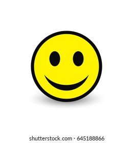 Smiley yellow icon. Vector emoticon happy face illustration.
