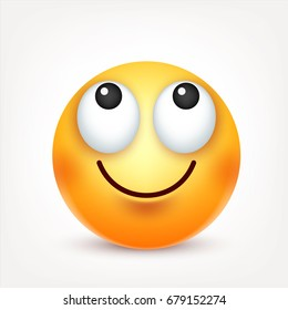 Smiley,emoticon. Yellow face with emotions. Facial expression. 3d realistic emoji. Sad,happy,angry faces.Funny cartoon character.Mood. Web icon. Vector illustration.