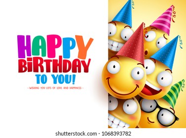 Smileys birthday vector greeting design with yellow funny and happy emoticons wearing colorful party hats and happy birthday text in white empty background. Vector illustration.