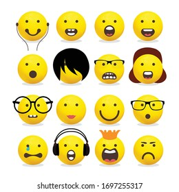 Smileys emoticons, emoji vector set - Mouths Facial Expressions, Cartoon Lips And Tongues.