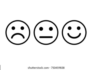 Smileys emoticons icon negative, neutral and positive, different mood. Vector illustration