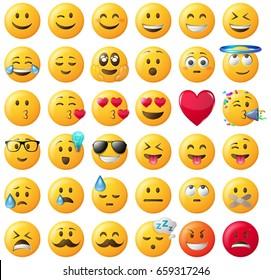 smileys emoticons vector set