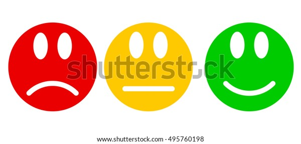 Smileys Flat Style Three Moods Colors Stock Vector Royalty