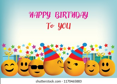 Smileys vector background with happy birthday. Congratulations on the birthday.