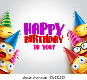 Smileys vector background with happy birthday greeting, funny smileys wearing colorful birthday hats for party and celebrations. Vector illustration.