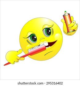 The smilie brushes teeth. Good morning. Vector illustration.
