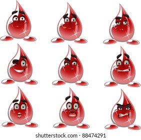 Smilies drop of blood - different moods