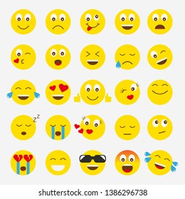 smilies emotions vector set. A set of emoticons for chat and web design