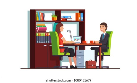 Smiling accountant clerk or lawyer woman meeting customer business man in office room. Business workplace interior design with desk, laptop computer, two chairs and bookcase. Flat vector illustration
