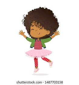 Smiling African American girl happily jump and dance. School girl have fun. The concept is fun and vibrant moments of childhood. Vector illustrations.