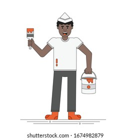 Smiling African Man Holds Brush and Paint Bucket Dressed in Home Clothes and Paper Hat. DIY Project, House Renovation. Spring Household Maintenance Concept. Line Stock Vector Illustration.