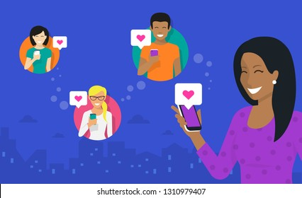 Smiling african woman holds the smartphone in her hand and sharing images and memes to friends via mobile networks app. Flat vector neon illustration of reposting and data sharing with friends