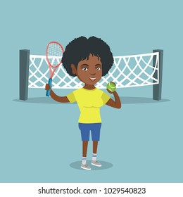 Smiling african-american tennis player standing on the background of tennis net and holding a racket and a ball. Young cheerful sportswoman playing tennis. Vector cartoon illustration. Square layout.