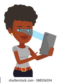 Smiling african-american woman using smart mobile phone with retina scanner. Young woman using iris scanner to unlock her mobile phone. Vector flat design illustration isolated on white background.
