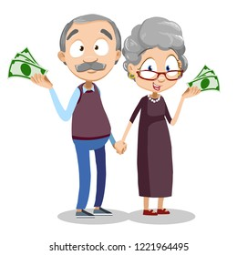Smiling aged couple holding dollar banknotes. Retirement savings money and financial success. Happy retired couple holding hands. Pension plan for future retirement needs vector illustration