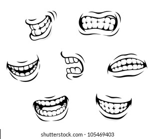 Smiling and angry cartoon teeth isolated on white background. Jpeg version also available in gallery