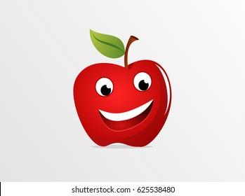 Smiling Apple Cartoon Mascot Character. Vector Illustration