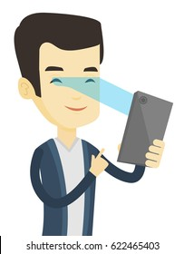 Smiling asian man using smart mobile phone with retina scanner. Young happy man using iris scanner to unlock his mobile phone. Vector flat design illustration isolated on white background.