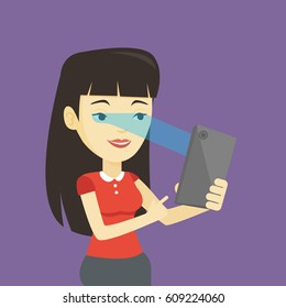 Smiling asian woman using smart mobile phone with retina scanner. Young happy woman using iris scanner to unlock her mobile phone. Vector flat design illustration. Square layout.