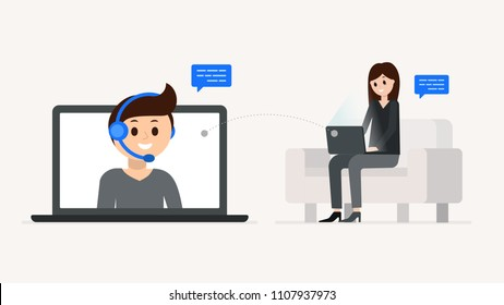 Smiling assistant of technical support with headset with woman client chatting vector illustration. Helpline service 24/7 concept. Speech bubble with place for text