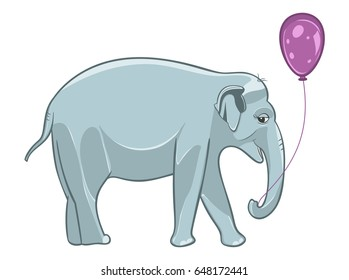 Smiling baby elephant with purple balloon. Vector Illustration.