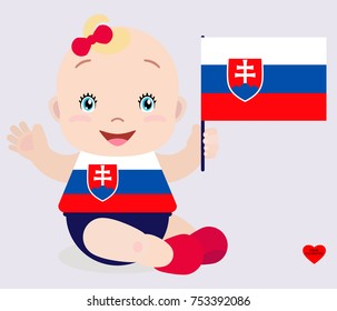 Smiling baby toddler, girl holding a Slovakia flag isolated on white background. Vector cartoon mascot. Holiday illustration to the Day of the country, Independence Day, Flag Day.