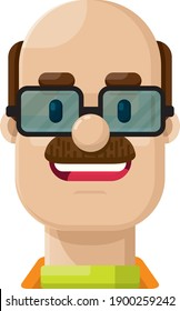 Smiling Bald Man with Mustache and Glasses Flat Vector Illustration Icon