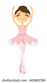 Smiling ballerina with her arms raised