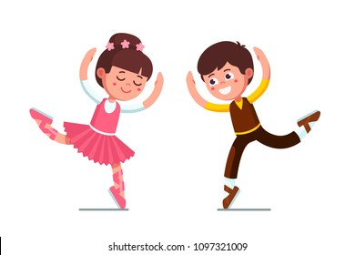 Smiling ballet dancer kids pair boy and ballerina girl dancing and wearing beautiful costumes. Ballet dancers kids performance. Children cartoon characters. Flat vector illustration